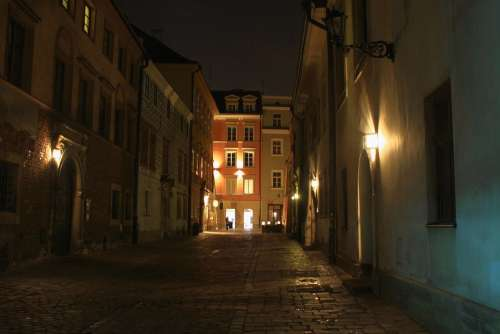 Cracow Krakow Old Town Street Architecture Lights