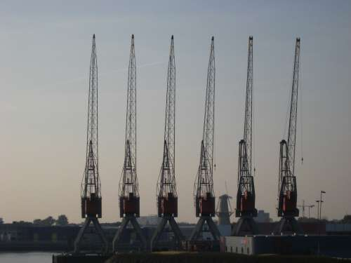 Crane Port Rotterdam Water Mesh