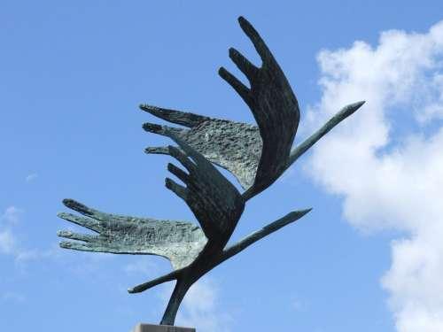 Cranes Bronze Statue Figure Sculpture Sky