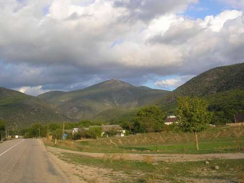 Crimea Landscape Scenic Mountains Sky Clouds