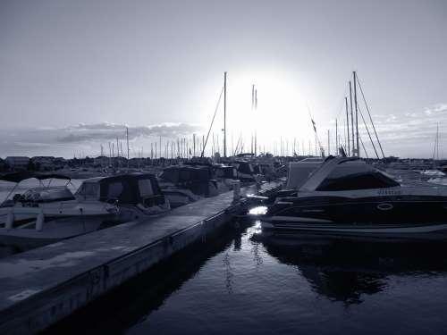 Croatia Sea Port Black And White