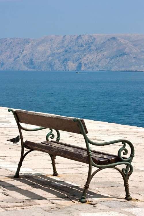 Croatia Krk Bench Sea Costa
