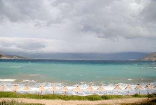 Croatia Island Krk Baska Mountains Sea Water