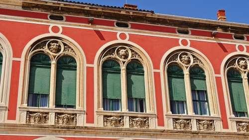 Croatia Split Historic Center House Facade Red
