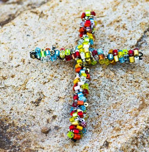 Cross Beaded Beads Rock Colorful Rainbow Object