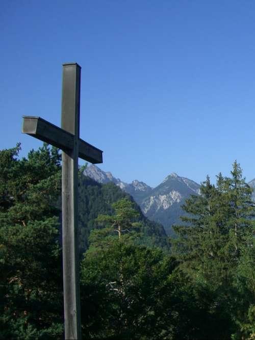 Cross Summit Cross Firs Mountains Allgäu Alps Sky
