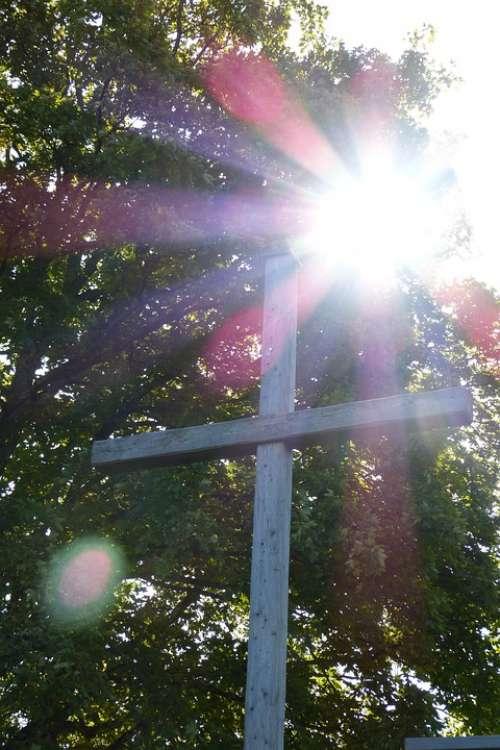 Cross Backlighting Light Beam Wooden Cross Crucifix