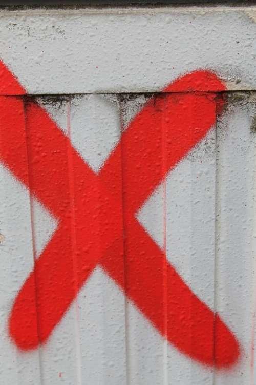 Cross X Letter Red Graffiti Abc Alphabet Road