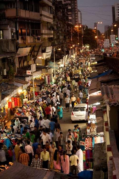 Crowded Street Mumbai Bombay Crowd People India
