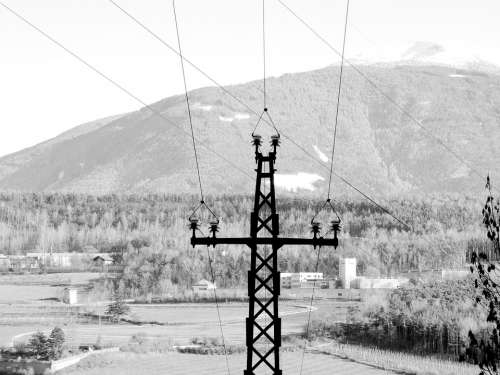 Current Line Mast Black And White Power Poles