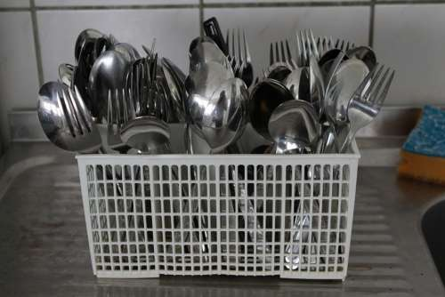 Cutlery Basket Cutlery Fork Spoon Rinsed Kitchen