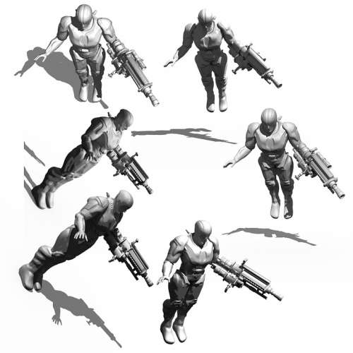 Cyborg Bio Mechanics Render 3D Model Tonal Values