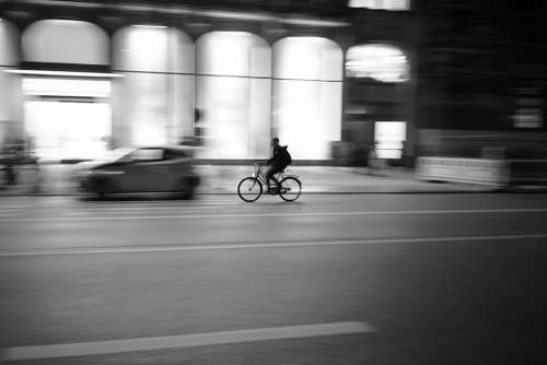 Cyclists City Street Photography Silhouette