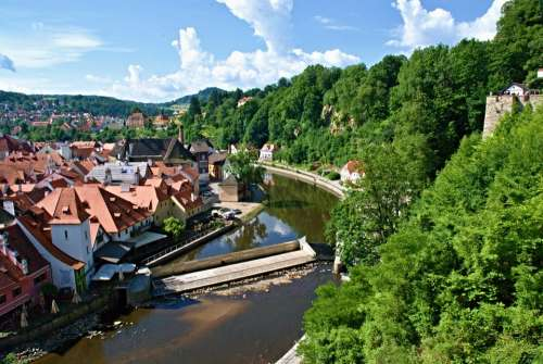 Czech Krumlov View River Weir Old Town Landscape