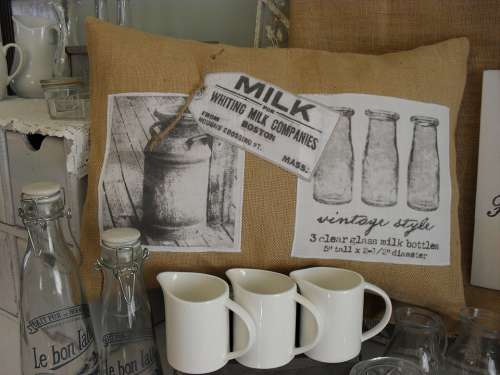 Dairy Milk Decor Jug Burlap Decoration White