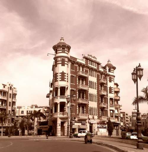 Damanhur Egypt City Cities Urban Sepia Buildings