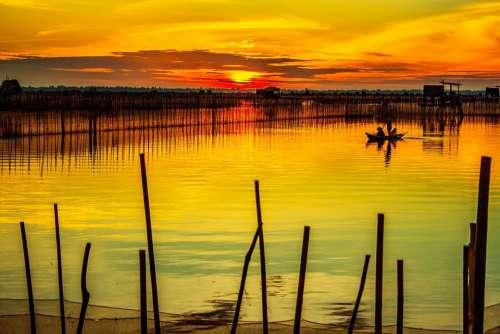 Dawn Lagoon Hue Vietnam Lake Sunrise