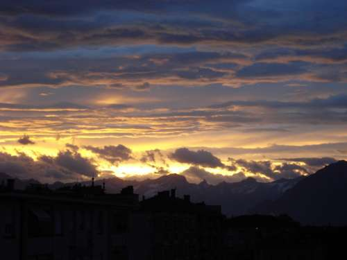 Dawn Rising Sun Clouds Colorful Nature Mountains