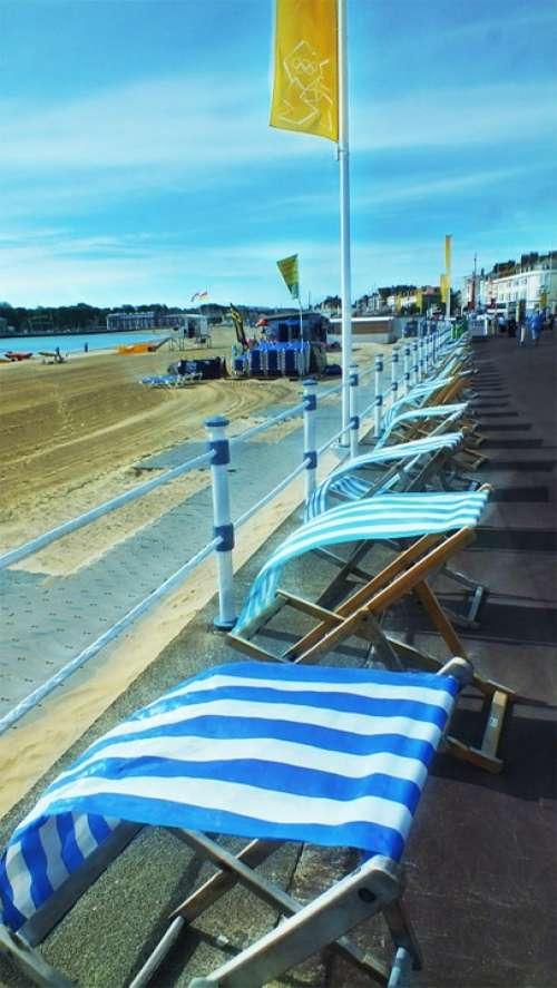 Deckchairs Seaside Beach Sky Sand Landscape Cloud