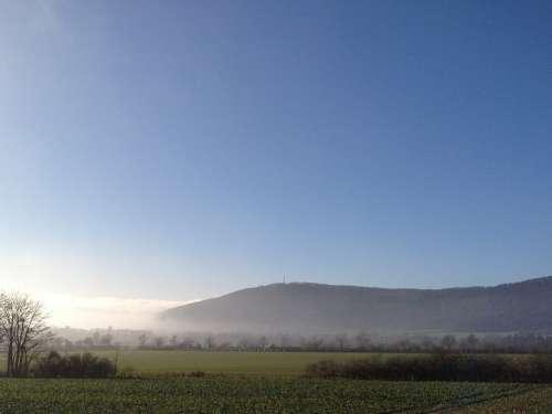 Deister Fields Hazy Fog Sunrise