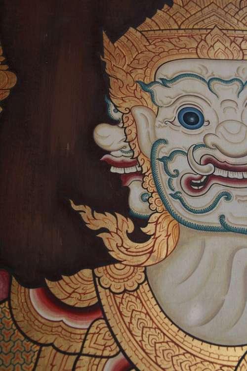 Demon Face Ornamental Painting Freeze Ornament