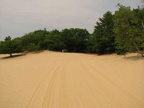 Desert Freeport Tire Tracks Landmark Maine Sand