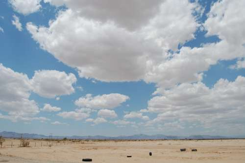 Desert Clouds Abandoned Litter Landscape Southwest