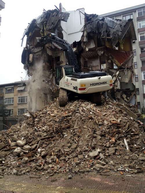 Destruction House Damage Building Crane Machinery