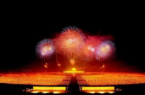 Dhammakaya Pagoda Fireworks Buddhas Gold Buddhism
