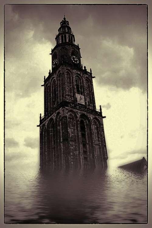 Digital Art Framed Flooded Church Tower Underwater