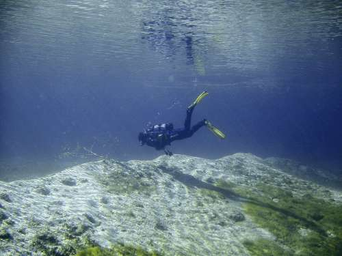 Diving Underwater Water Lake Clear Lichtspiel