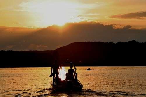 Dlrg Sun Setting Sunset Boat Lifeboat Sky Mood