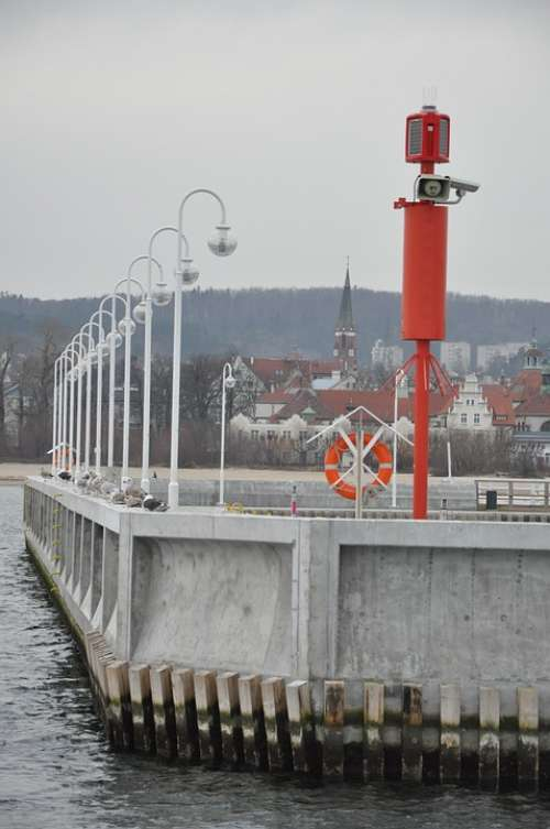 Dock Port Lanterns Sea The Coast The Baltic Sea