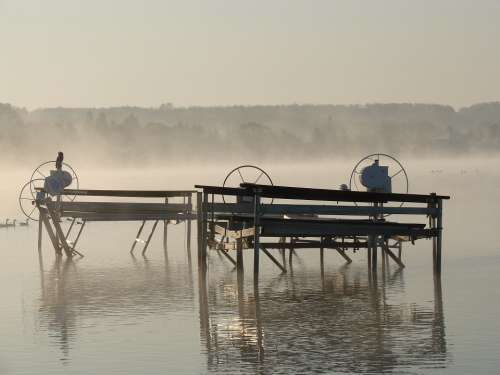 Dock Fog Water Morning Fall Weather