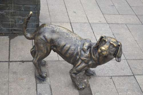Dog Pet Statue Animal Iron Art Replica Object