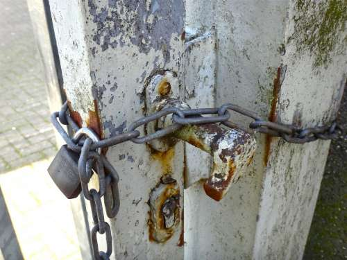 Door Goal Castle Chain Close Metal Gate Weathered