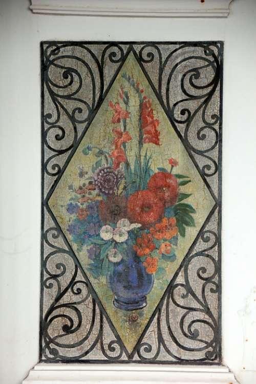 Door Flowers Painting Art Old