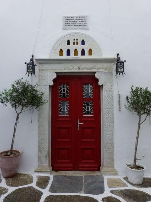 Door Red Door Church Door Greece Architecture