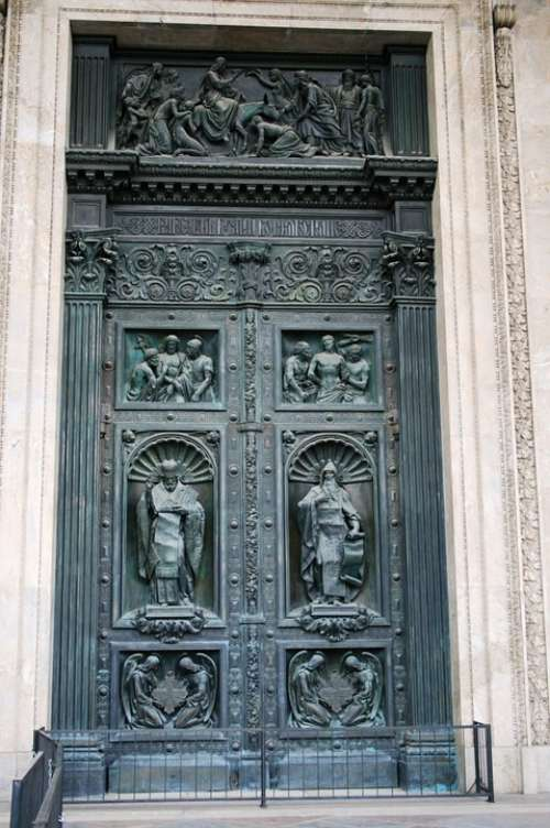 Door Large Tall Heavy Decorated Relief Ornate