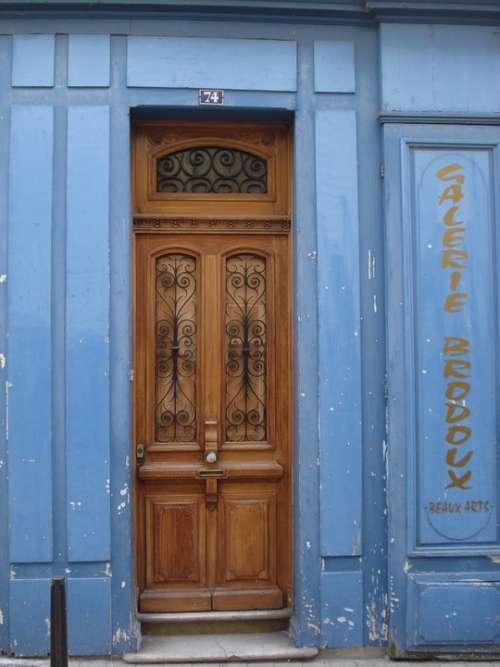 Door Wood Blue Store Shop Former Antique