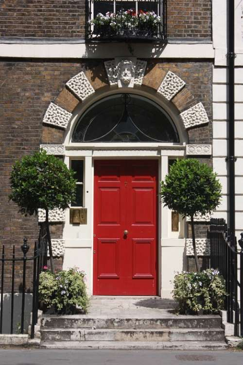 Door London House Red Architecture Entry