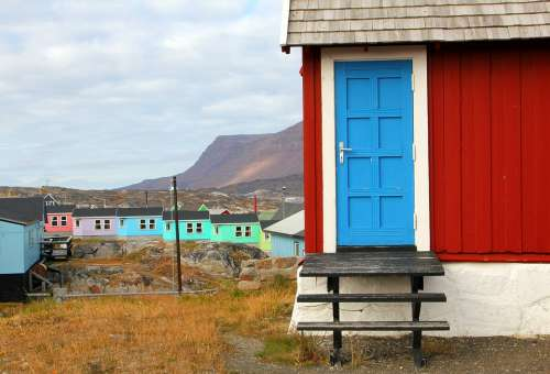 Door House Of Stairs Red Qeqertarsuaq From