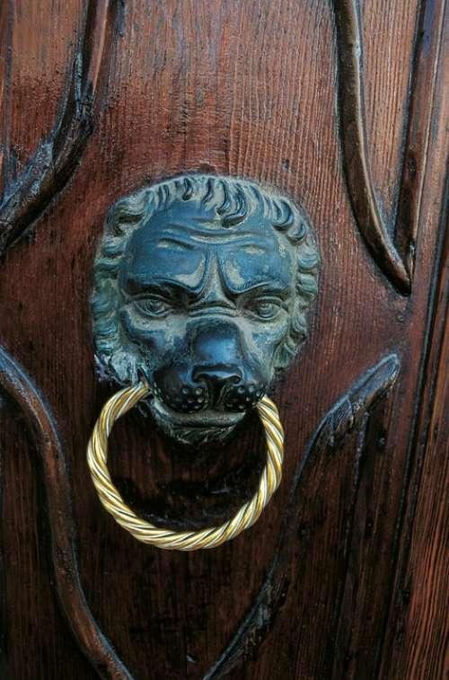 Doorknocker Door Handle Door Wood Metal Brass Old