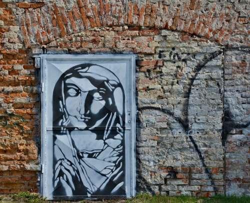 Doors Graffiti Wall Brick Red Render Faith