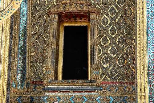 Doorway Entrance Gold Ornate Temple Buddha