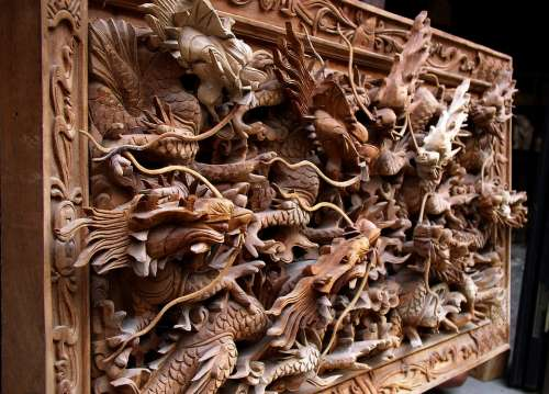 Dragon Wooden Hanging Decoration Design Textured