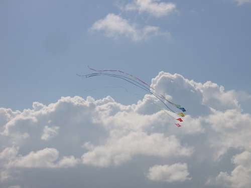 Dragons Clouds Sky Blue Kite Cloudiness