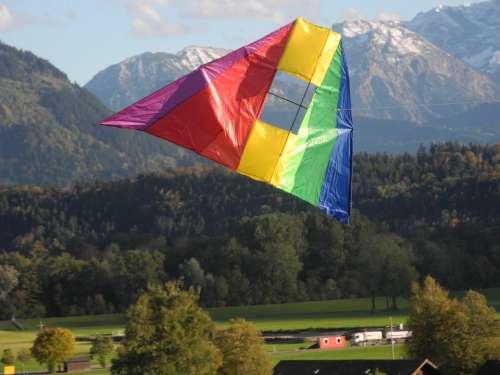 Dragons Kites Rise Flying Mountains Sky Rainbow
