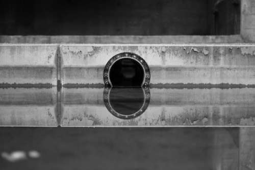 Drain Sewage System Water River Channel Reflection
