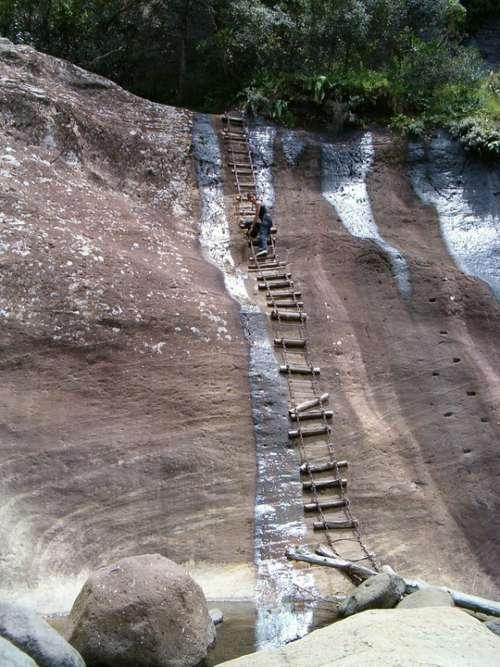 Drakensberg Mountains Steep Slope Rope Ladder Rock